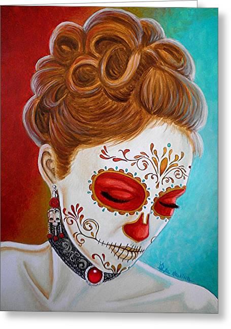 Painted Face Greeting Cards - Recuerdos de mi Amor Escarlata Greeting Card by Al  Molina