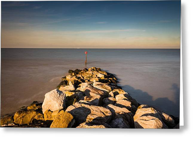 Sea Wall Greeting Cards - Reculver Seascape Greeting Card by Ian Hufton