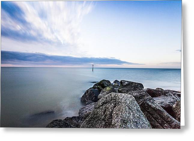 Sunset Seascape Greeting Cards - Reculver Seawall Greeting Card by Ian Hufton