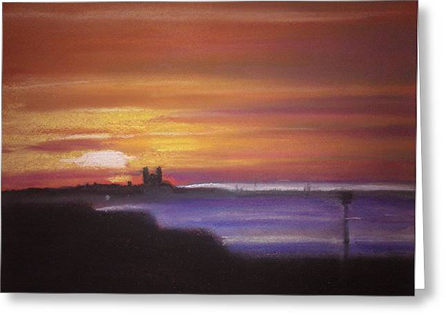 Ruins Pastels Greeting Cards - Reculver Sunset Greeting Card by Paul Mitchell