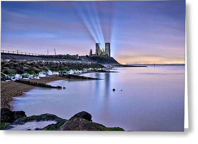 Marys Greeting Cards - Reculver Towers at Night. Greeting Card by Ian Hufton