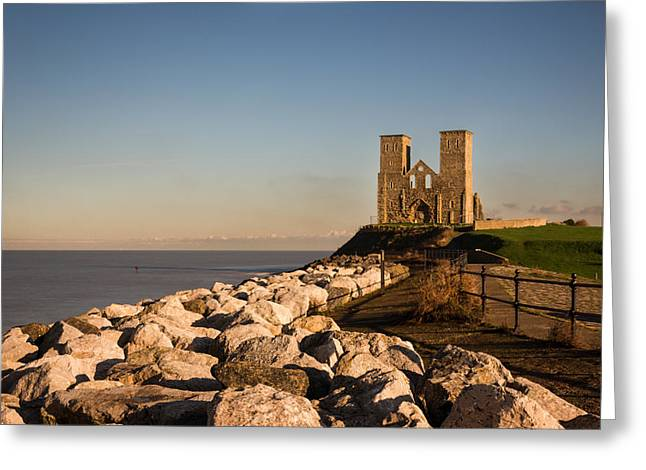 Sea Wall Greeting Cards - Reculver Towers Greeting Card by Ian Hufton