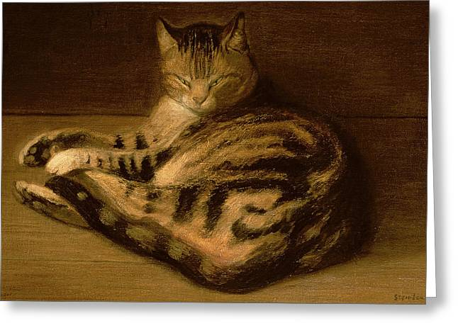 Lounge Paintings Greeting Cards - Recumbent Cat Greeting Card by Theophile Alexandre Steinlen