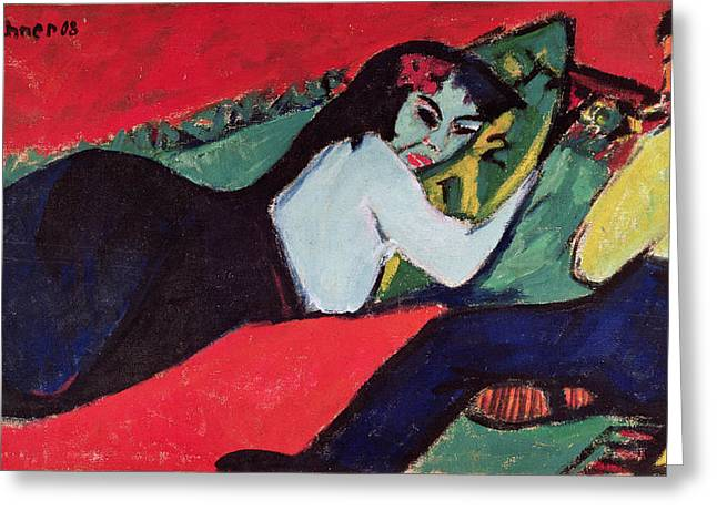 Expressionist Greeting Cards - Recumbent Woman Greeting Card by Ernst Ludwig Kirchner
