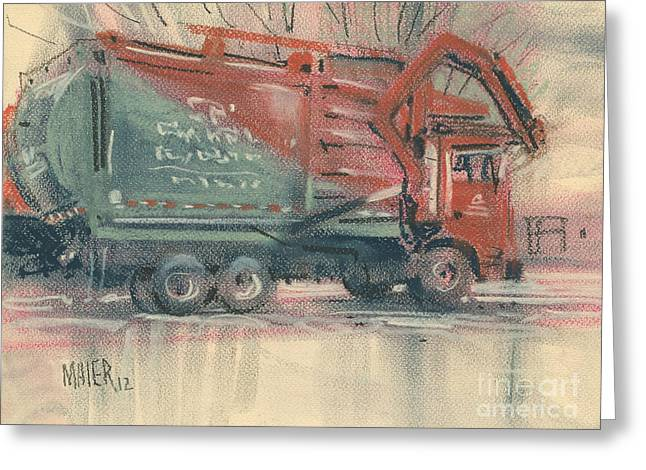 Garbage Truck Greeting Cards - Recycle Greeting Card by Donald Maier