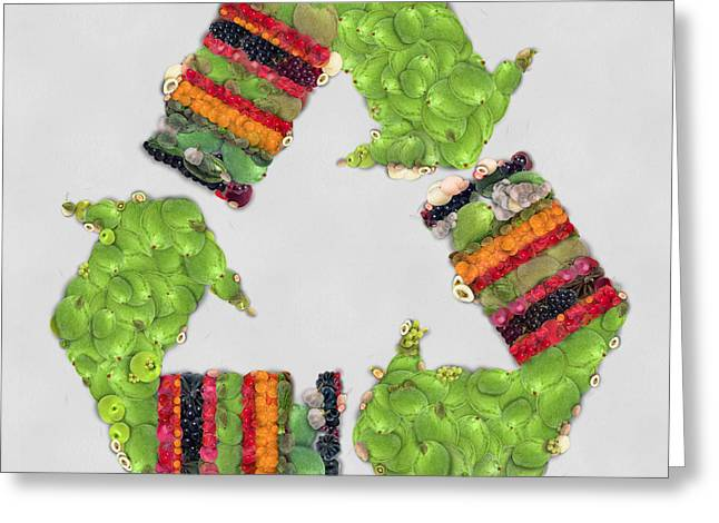 Renewing Greeting Cards - Recycle sign fruits and vegetables art Greeting Card by Eti Reid