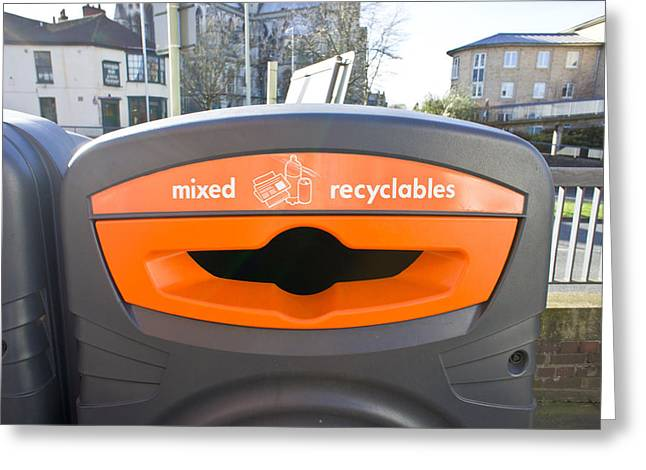 Refuse Greeting Cards - Recycling bin Greeting Card by Tom Gowanlock