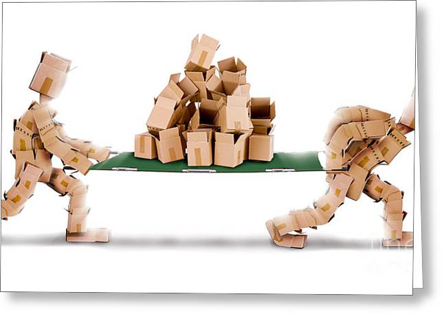 Cardboard Greeting Cards - Recycling boxes by box men and stretcher Greeting Card by Simon Bratt Photography LRPS