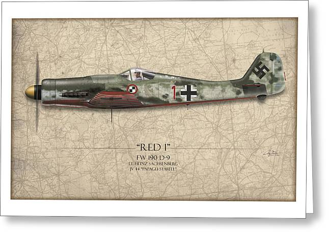 Long Nose Greeting Cards - Red 1 Focke-Wulf FW-190D - Map Background Greeting Card by Craig Tinder