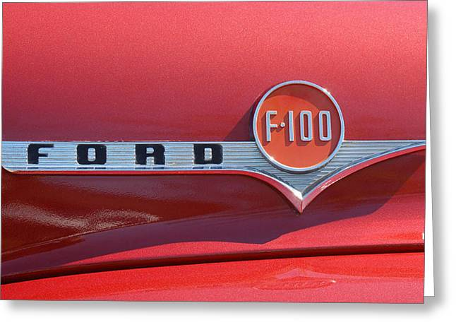 1956 Ford Truck Greeting Cards - Red 100 Greeting Card by  artNimages  photography