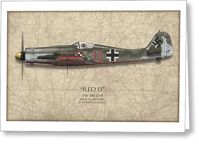 Luftwaffe Greeting Cards - Red 13 Focke-Wulf FW 190D - Map Background Greeting Card by Craig Tinder