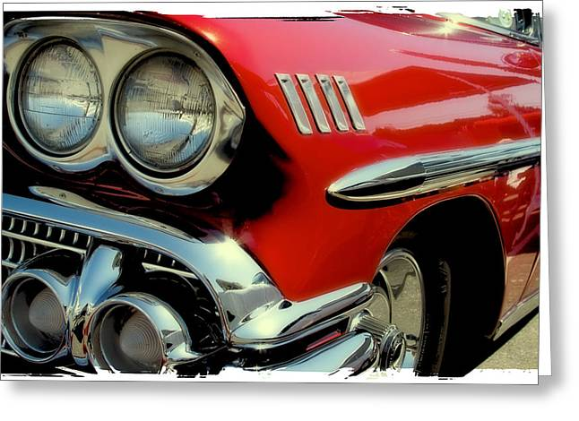 Red 1958 Chevrolet Impala Greeting Card by David Patterson