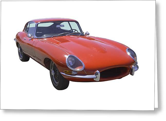 Beautiful Car Greeting Cards - Red 1964 Jaguar XKE Antique Sportscar Greeting Card by Keith Webber Jr