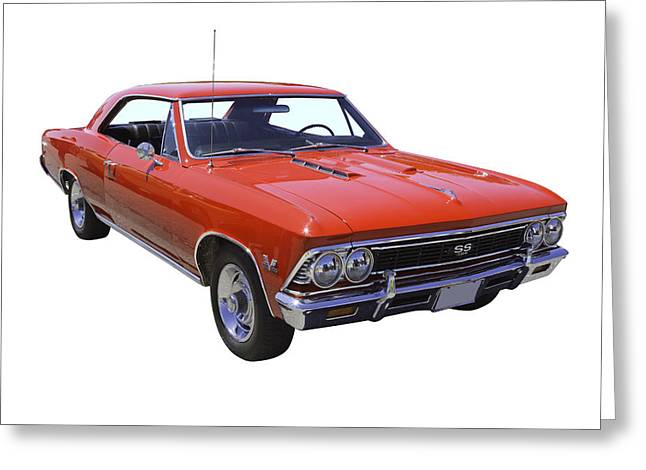 American Automobiles Greeting Cards - Red 1966 Chevy Chevelle SS 396 Greeting Card by Keith Webber Jr