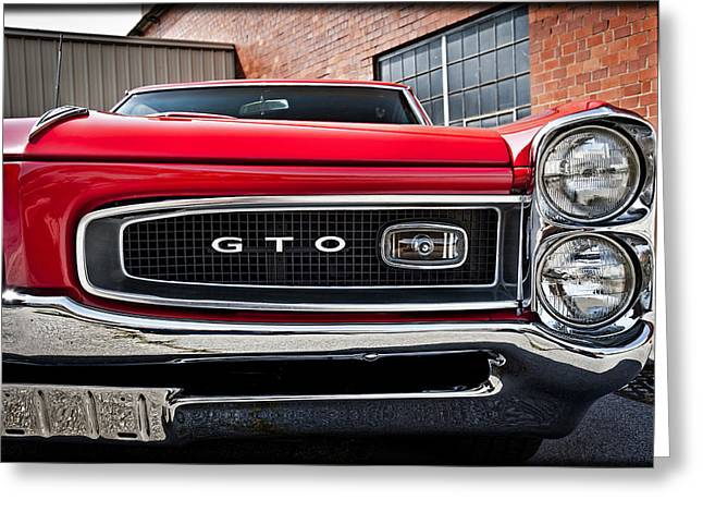 Pontiac Motors Division Greeting Cards - Red 1966 Pontiac G T O E19 Greeting Card by Wendell Franks