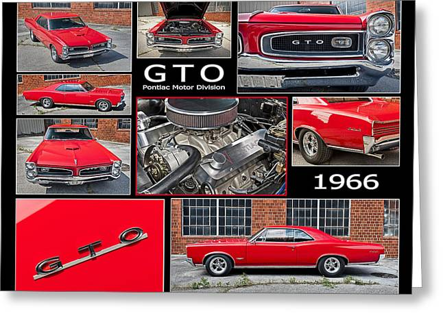 Pontiac Motors Division Greeting Cards - Red 1966 Pontiac G T O in a Multi-Image Photo Montage E15 Greeting Card by Wendell Franks