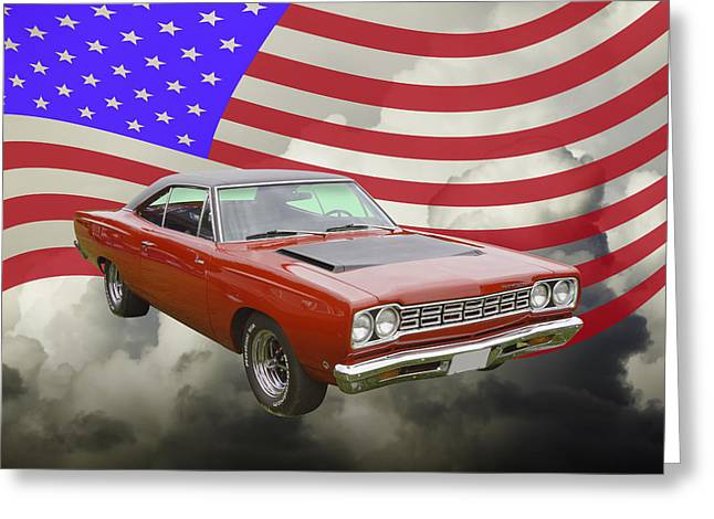 Road Runner Greeting Cards - Red 1968 Plymouth Roadrunner Muscle Car and US Flag Greeting Card by Keith Webber Jr