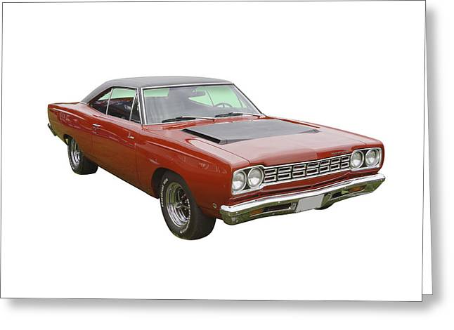 Runner Greeting Cards - Red 1968 Plymouth Roadrunner Muscle Car Greeting Card by Keith Webber Jr
