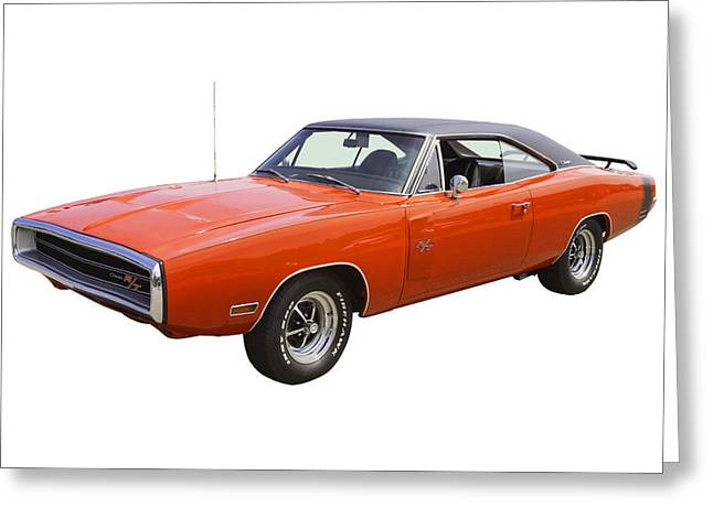 Fast Cars Greeting Cards - Red 1970 Dodge Charger R/t Muscle Car Greeting Card by Keith Webber Jr