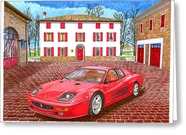 Red Buildings Drawings Greeting Cards - 1995 Ferrari 512m Enzo Garage Greeting Card by Jack Pumphrey