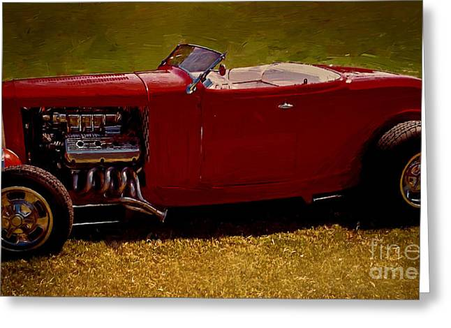 Collector Car Mixed Media Greeting Cards - Red 32 Coupe Greeting Card by Jerry L Barrett