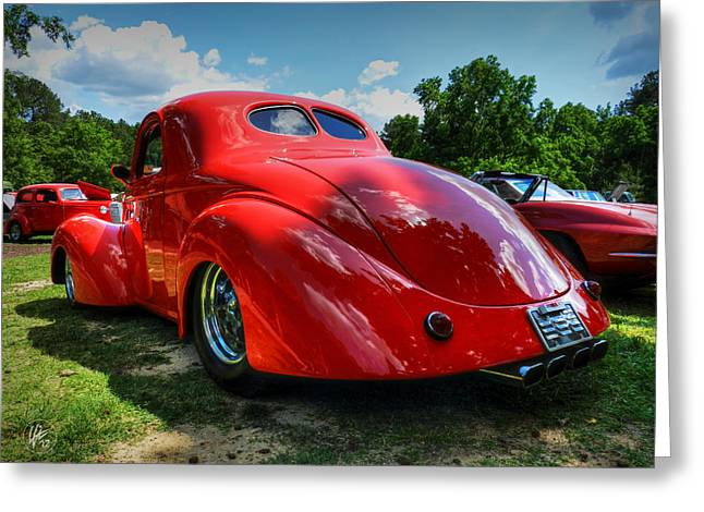 Sports Car Greeting Cards - Red 41 Willys Coupe 003 Greeting Card by Lance Vaughn