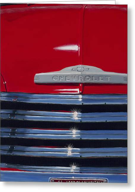 Classic Pickup Paintings Greeting Cards - Red 53 Greeting Card by Jack Atkins