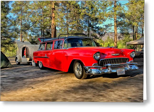 Rally Greeting Cards - Red 55 Chevy Wagon Greeting Card by Michael Pickett