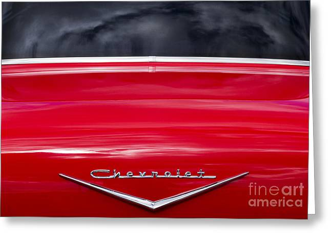 Chevrolet Trunk Greeting Cards - Red 57 Abstract Greeting Card by Tim Gainey