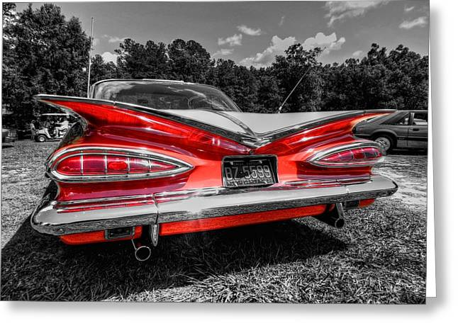 1959 Chevrolet Greeting Cards - Red 59 Impala 002 Greeting Card by Lance Vaughn