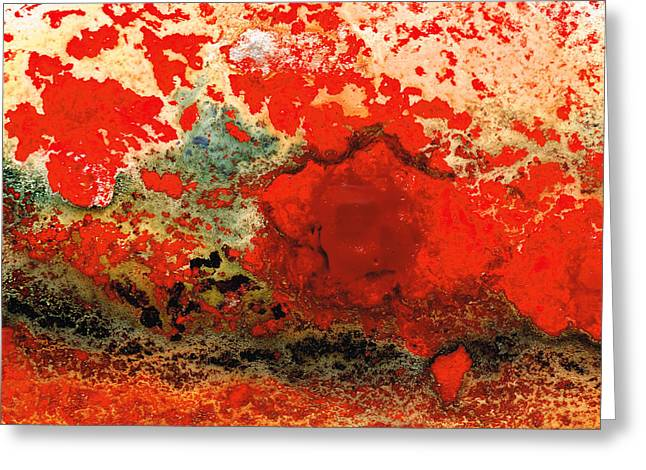 Large Prints Paintings Greeting Cards - Red Abstract Art - Lava - By Sharon Cummings Greeting Card by Sharon Cummings