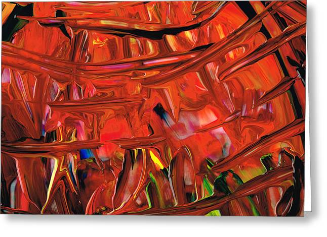 Red And Blue Greeting Cards - Red Abstract Art - Warm Garden - By Sharon Cummings Greeting Card by Sharon Cummings