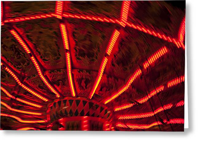 Red Abstract Carnival Lights Greeting Card by Garry Gay