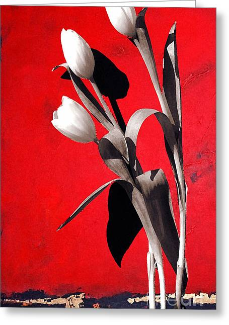 Fiori Greeting Cards - Red Abstract Floral Greeting Card by Anahi DeCanio