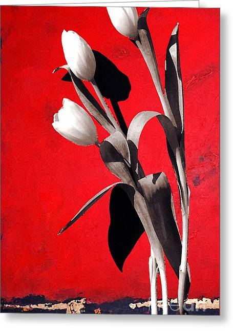 Shower Curtain Greeting Cards - Red Abstract Floral - White Tulips on Red Greeting Card by Anahi DeCanio - ArtyZen Studios