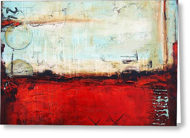 Jolina Anthony Greeting Cards - Red Abstract Greeting Card by Jolina Anthony