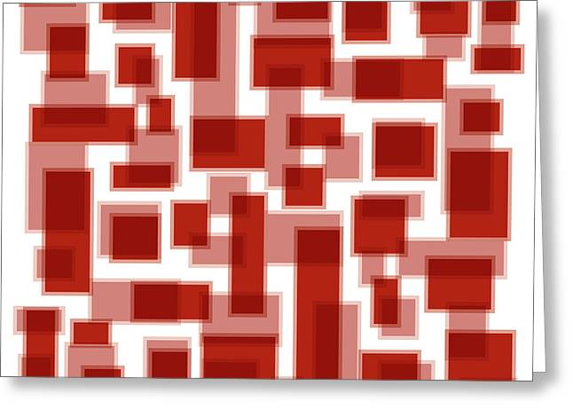 Red Abstracts Drawings Greeting Cards - Red Abstract Patches Greeting Card by Frank Tschakert