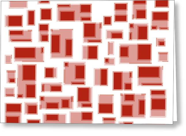 Geometric Artwork Greeting Cards - Red Abstract Rectangles Greeting Card by Frank Tschakert