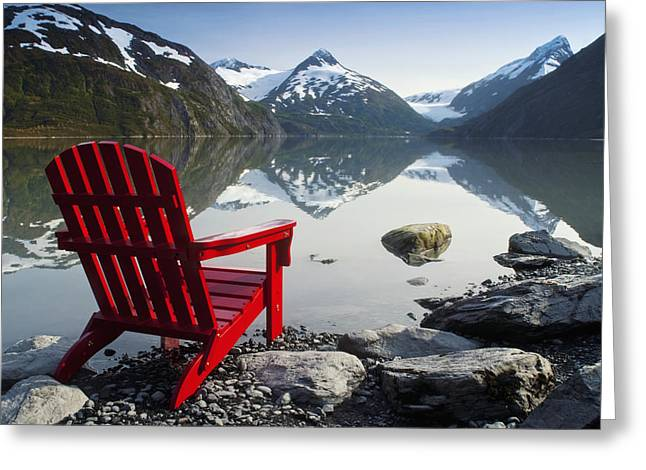 Portage Greeting Cards - Red Adirondack Chair At Portage Lake Greeting Card by Randy Brandon