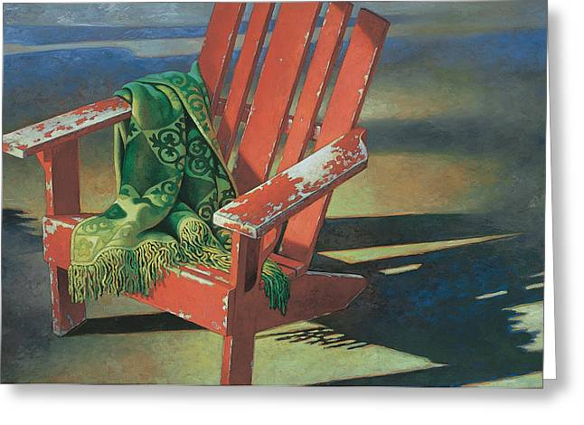 Relaxing Mixed Media Greeting Cards - Red Adirondack Chair Greeting Card by Mia Tavonatti
