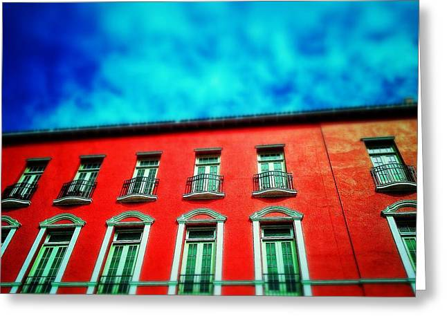 Old San Juan Greeting Cards - Red against blue Greeting Card by Olivier Calas