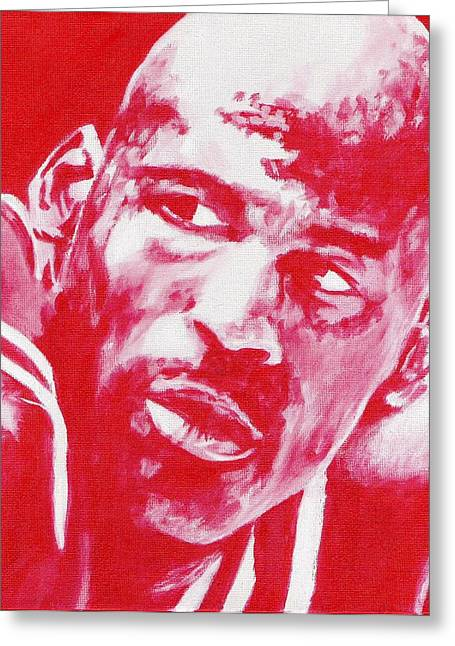 Michael Jordan Prints Greeting Cards - Red Air Greeting Card by Paul Smutylo