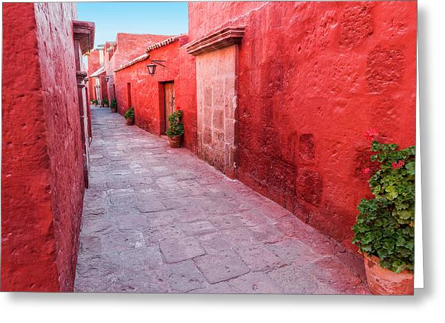Catherine White Greeting Cards - Red Alley in Monastery Greeting Card by Jess Kraft