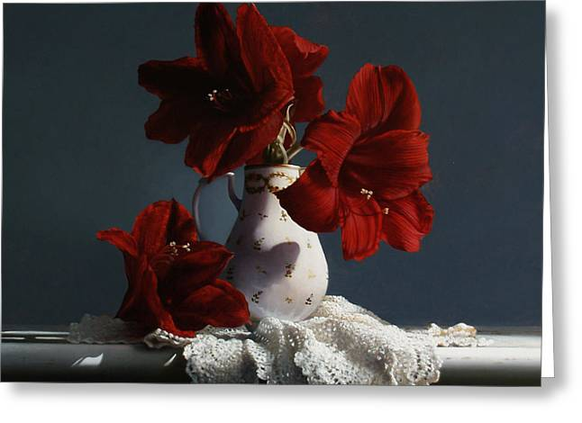 Red Amaryllis Flowers  Greeting Card by Larry Preston