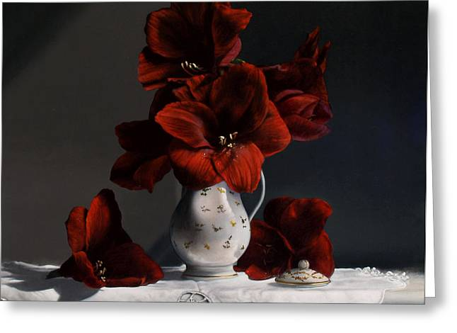 Still Life Glass Greeting Cards - Red Amaryllis  Greeting Card by Larry Preston