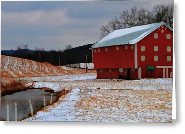 Swiss Culture Greeting Cards - Red Amish Barn In Winter Greeting Card by Dan Sproul