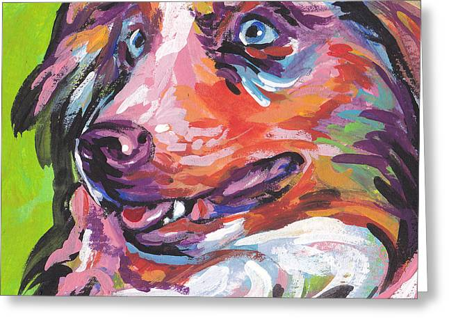 Australian Shepherd Greeting Cards - Red and Awesome Greeting Card by Lea