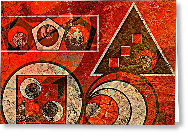 Must Have Greeting Cards - Red And Black Abstract Greeting Card by Ally  White