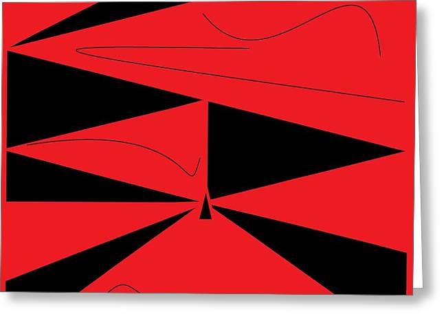 Abstract Shapes Greeting Cards - Red and Black Abstract Greeting Card by Eloise Schneider