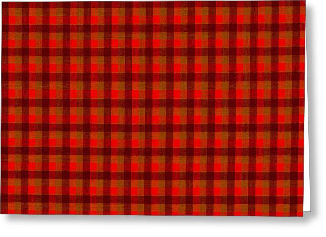 Gingham Greeting Cards - Red And Black Checkered Tablecloth Cloth Background Greeting Card by Keith Webber Jr